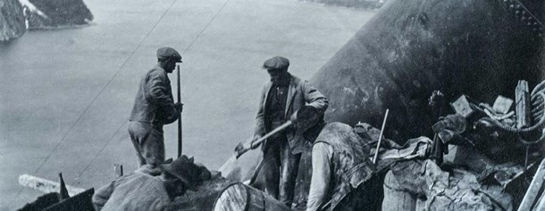 Men working on dam