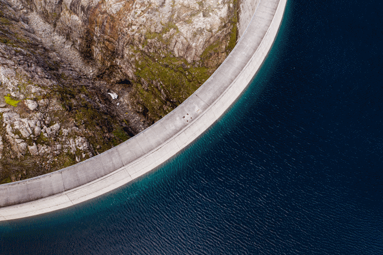 Dam and reservoir from above