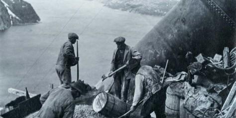 Men building hydropower plant