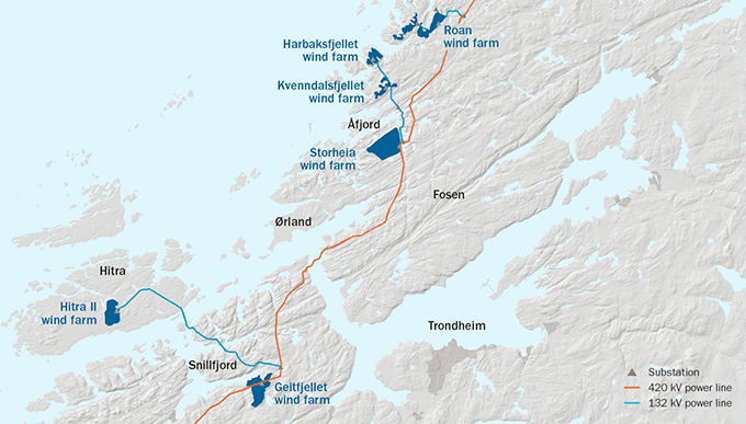 Map of the wind farms in Fosen Vind