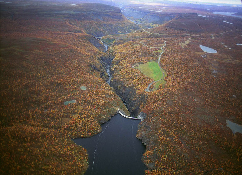 Alta dam in Finnmark seen from the air.