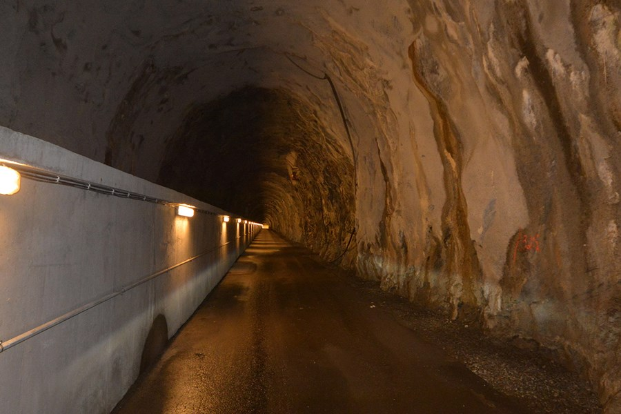 Access tunnel to the power plant inside the mountain