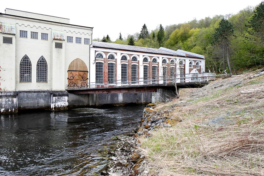 Øvre Leirfoss power plant on Nid River in Trondheim.