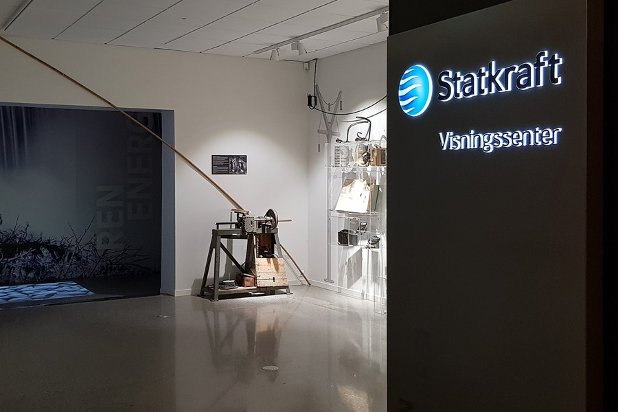 Statkraft logo and sign and visitor centre at West Telemark Museum