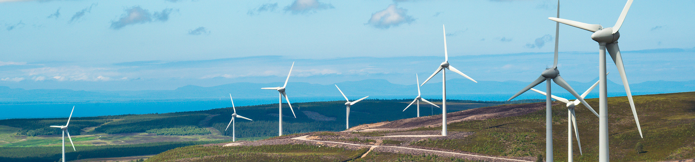 Wind farm in hilly landscape