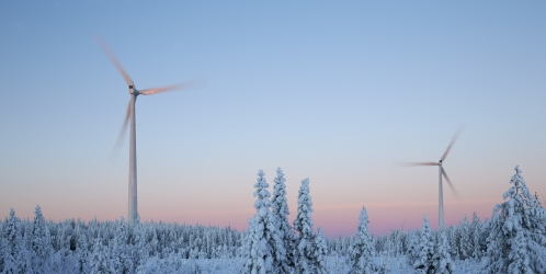 Wind mills in forest in winter