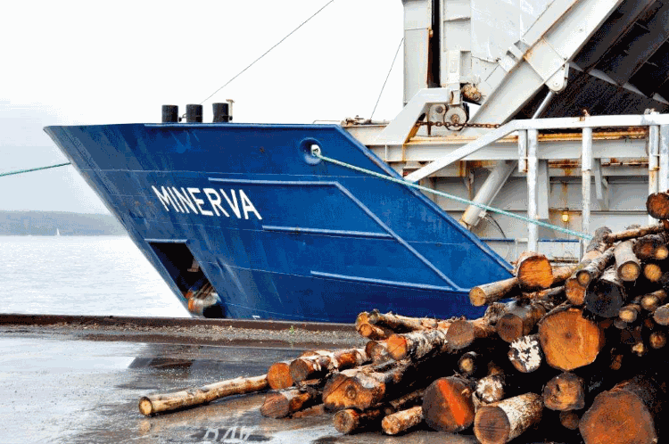 Boat docked by pile of timber