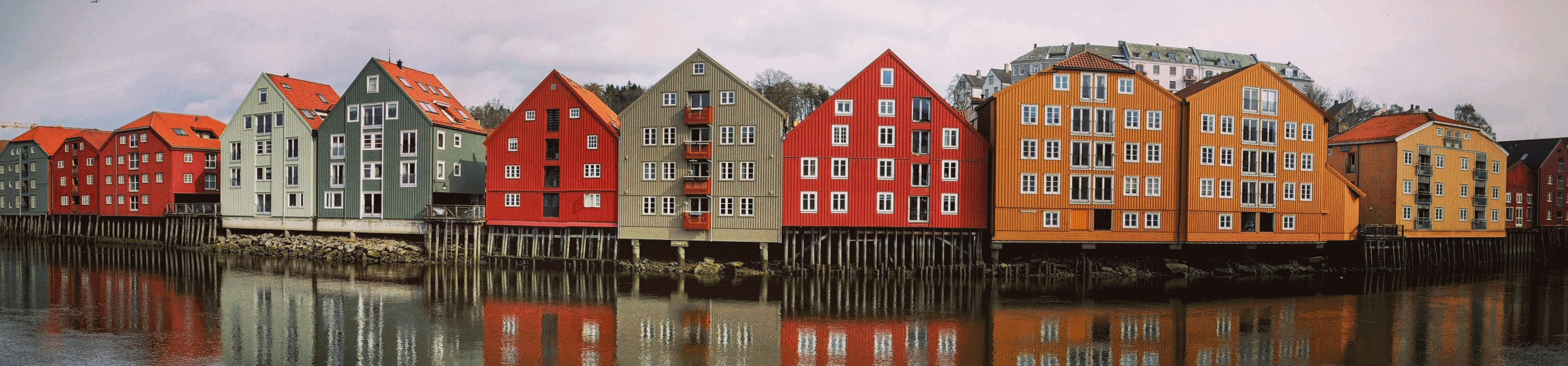 Coloured houses on river