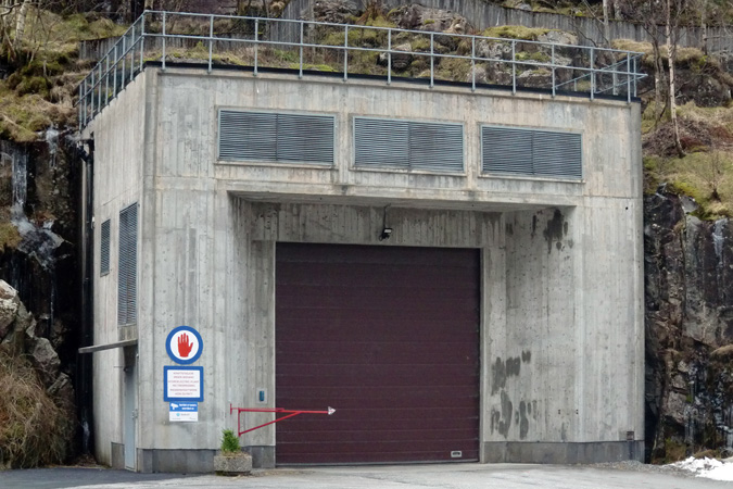 Portal building with entrance to access tunnel at Mauranger power plant.