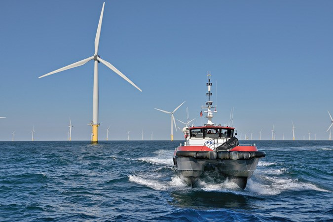 Rescue vessel at the Sheringham Shoal offshore wind farm.