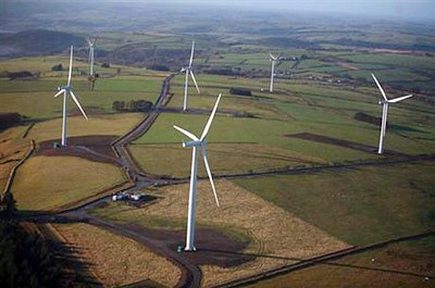 Wind mills seen from above at Alltwalis Wind Farm