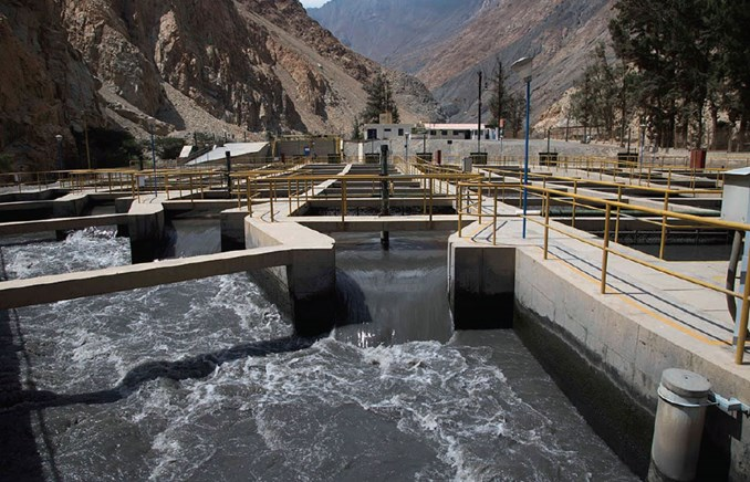 Water flowing at Cahua Hydropower Plant