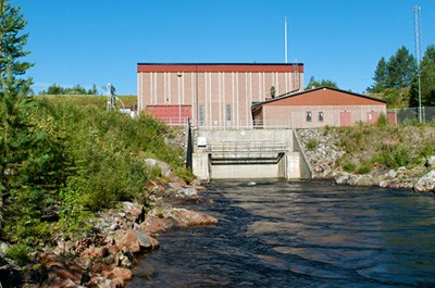 Tåsjö power plant seen from the river