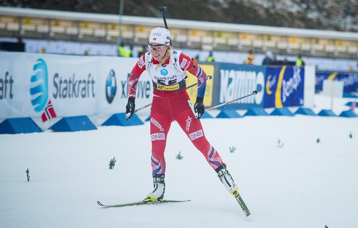 Biathlete Tiril Eckhoff in a competition.