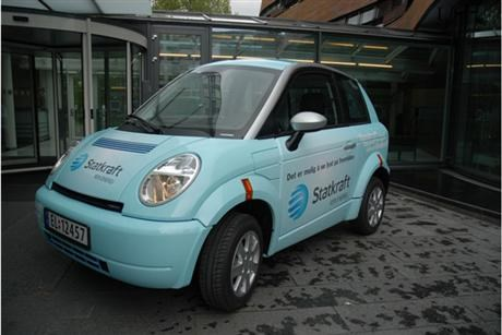 Turquoise Electric city car