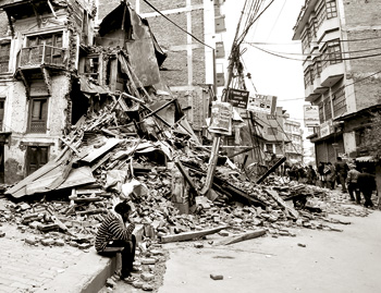 Nepal building damaged by earthquake