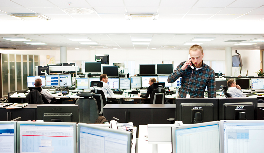 Trading room at Statkraft's headquarters in Oslo