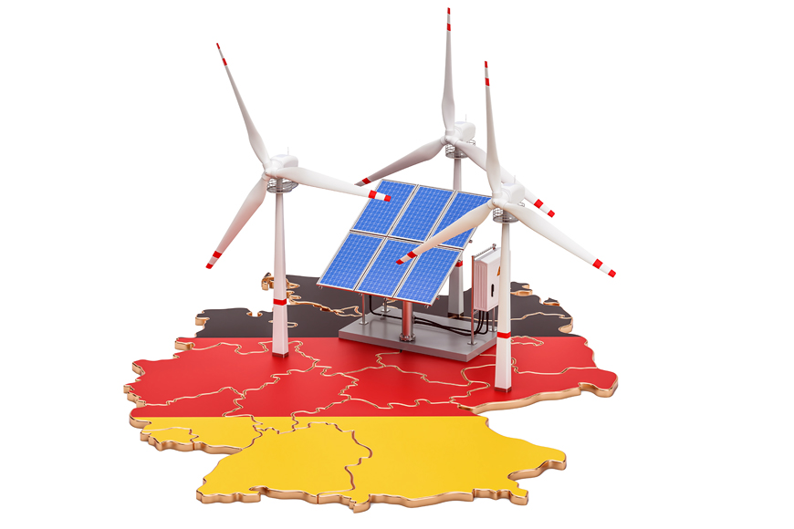 German flag with wind and solar power