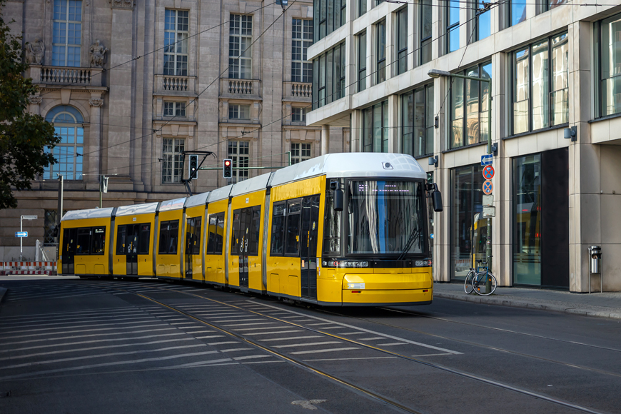 Yellow electric tram in Berlin.