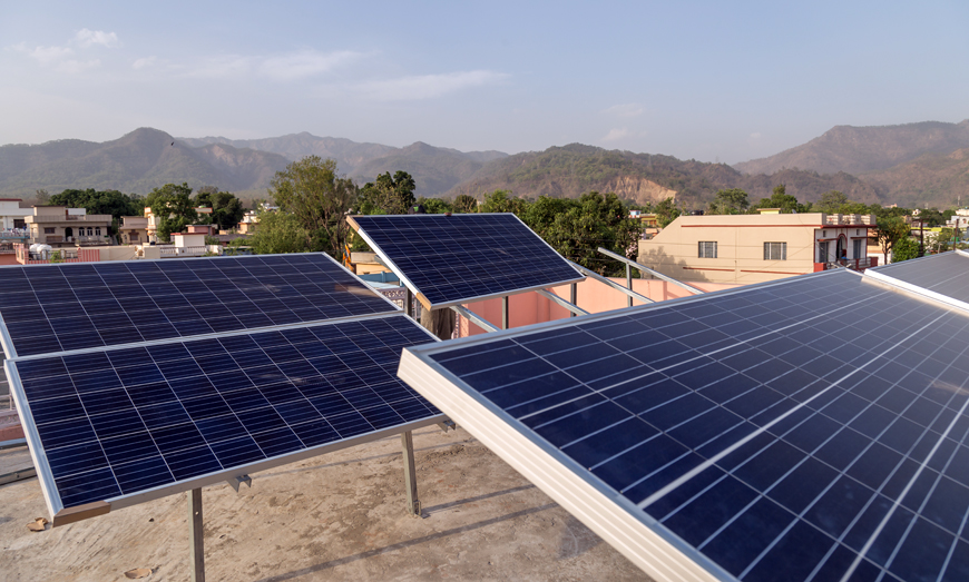 Solar panels in rural India