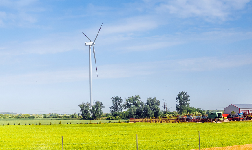 Wind turbine at farm