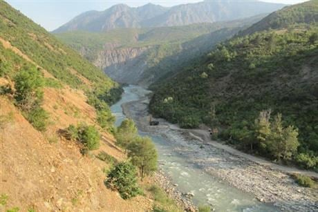 Valley river with hills and trees in Devoll Albania